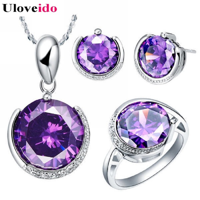 Uloveido Fashion Silver Color Jewelry Sets Wedding Pendant Necklace Earrings Ring Set with Stones Round Jewelry Fashion T062