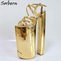Sorbern индивидуальные Золотые женские сандалии сверхвысокий каблук с перекрестной шнуровкой с открытым носком летние туфли женские Размер 14