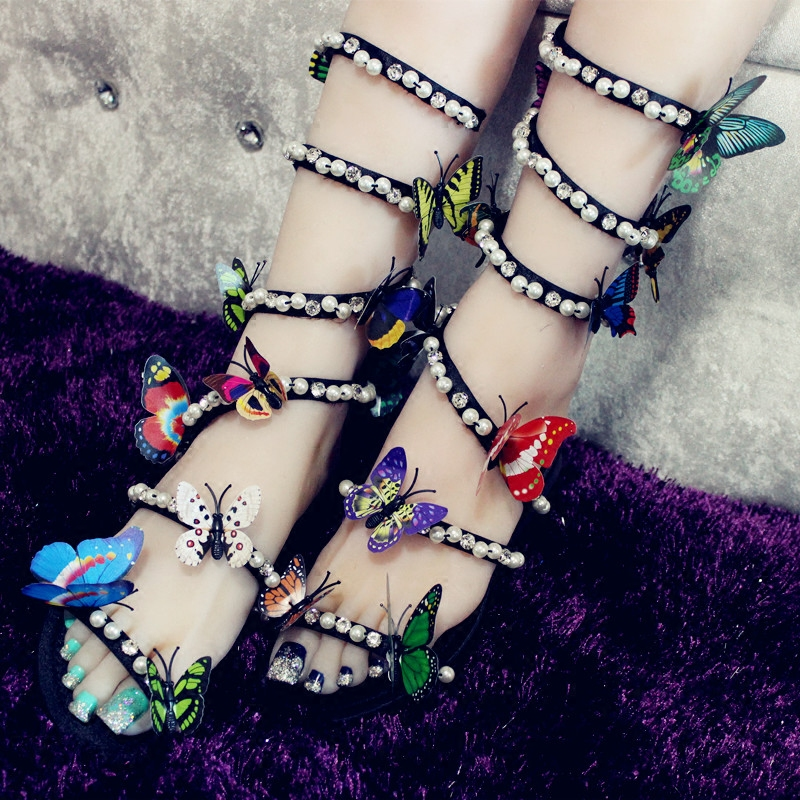 Women Sandals Narrow Band Beading Sandals Colorful Butterfly Summer Sandals Shoes Women Ankle Strap Peep Toe Flat Gladiators in High Heels from Shoes