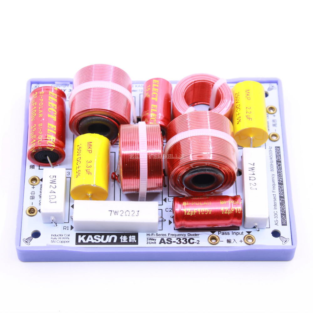 2pcs KASUN AS-33C 3 Way 3 Unit Hi-Fi Speaker Frequency Divider Crossover Filters