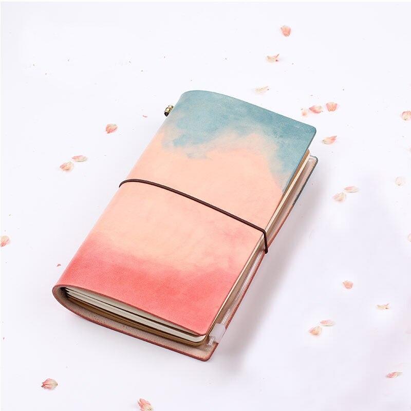 Yiwi 2018 TN bloc-notes en cuir aquarelle rétro chinois fait à la main en cuir journal de voyage carnet de voyage teint à la main compte planificateur