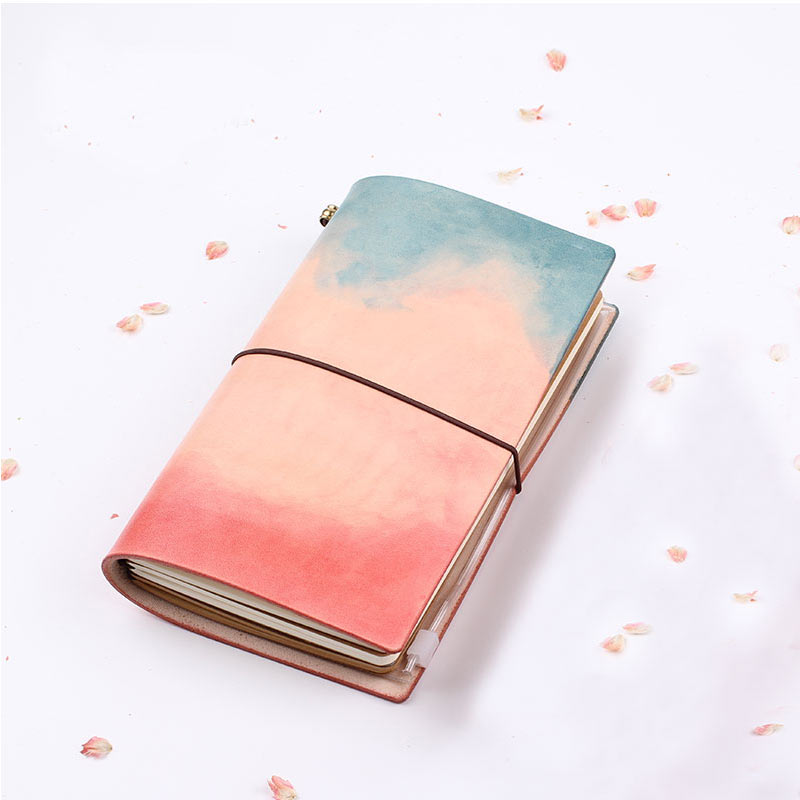 Yiwi 2018 TN leather Watercolor Notepad Retro Chinese Handmade Leather Diary Travel Notebook Hand-dyed Hand Account Planner