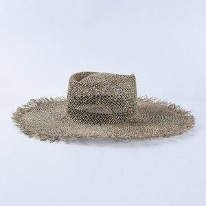 Image 2 - Шляпа Женская плетеная с широкими полями, Соломенная Панама от солнца в стиле унисекс, для походов в Кентукки и путешествий