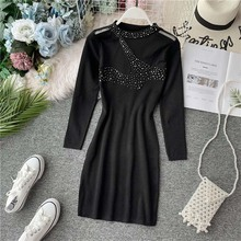 NiceMix Sexy Hollow Out Long Women Sweater Perspective Sleeve Autumn Winter Basic Black Korrean Pullovers Knitted Top