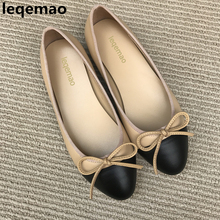 New Fashion Colorblock Cap-Toe Bowknot Ballet Flats Women Classic Slip On Round Toe Dress Shoes Zapatos De Mujer Sapato Feminino 2017 summer spring women ballet flats round toe slip on shoes woman flower bowknot loafers vintage zapatos mujer canvas