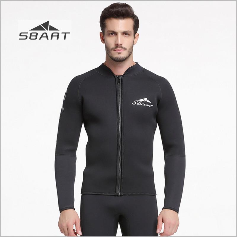 Sbart 2017 5mm combinaison veste noir épaissir hiver natation plongée en apnée surf à manches longues éruption garde sous-marine chasse hauts