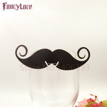 60pcs Mustache Glass Cards Laser Cut Place Name Fathers Birthday Party Table Invitation Wedding Decoration Supplies