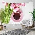 Else розовые тюльпаны чашки с цветочным узором чая цветочный 3D принт декоративный хиппи богемный настенный гобелен с пейзажем настенное иску...