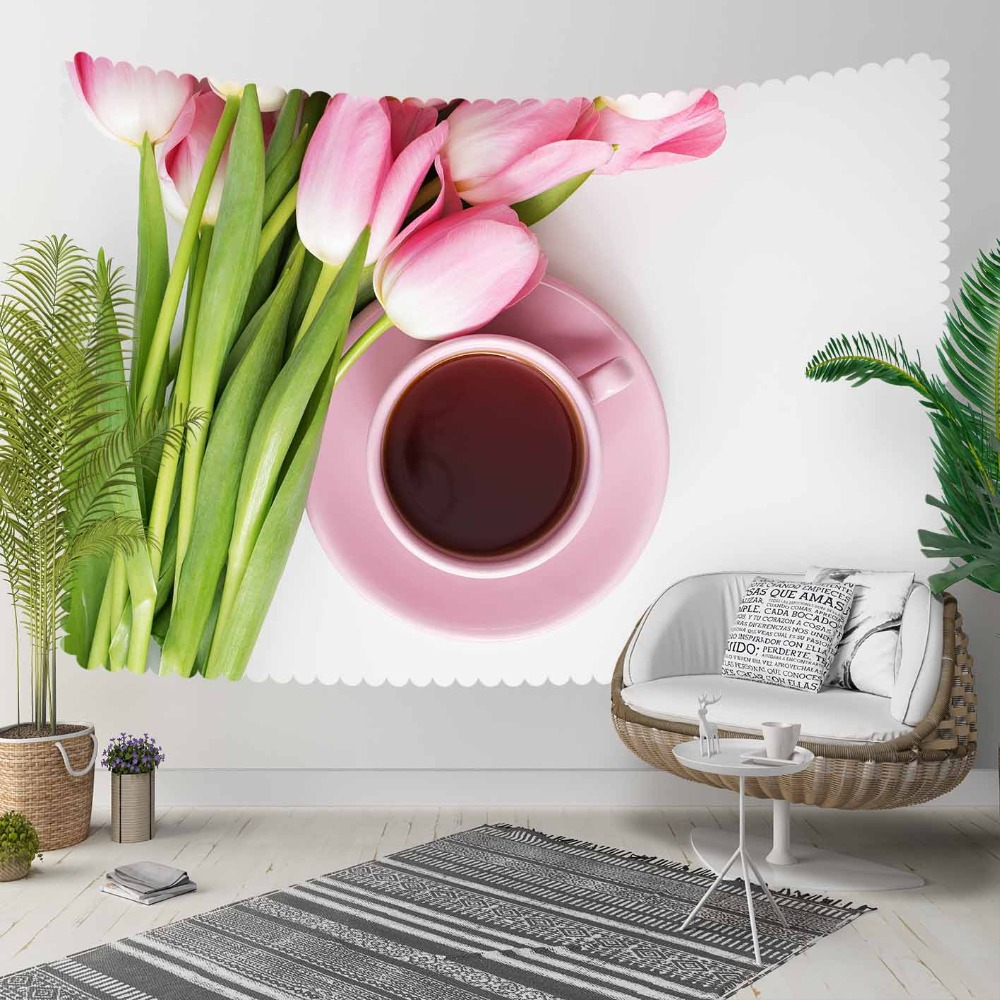 Else Pink Tulips Flowers Cup Of Tea Floral 3D Print Decorative Hippi Bohemian Wall Hanging Landscape Tapestry Wall Art