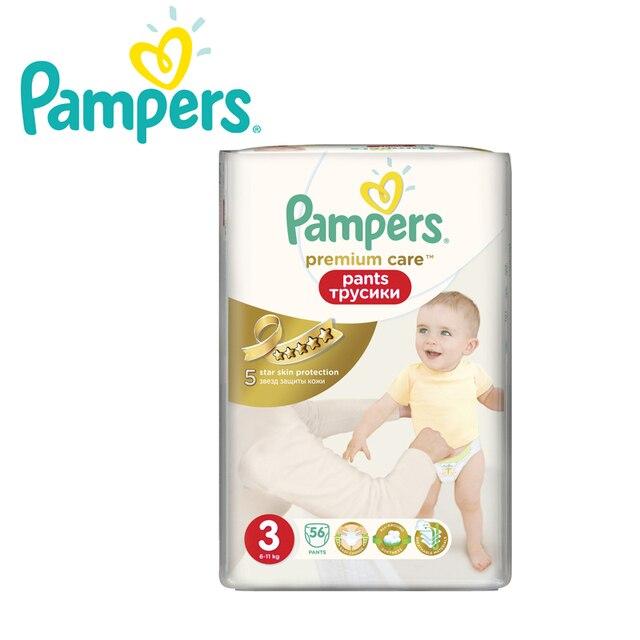 Трусики PAMPERS Premium Care Pants 6-11 кг, размер 3, 56 шт.