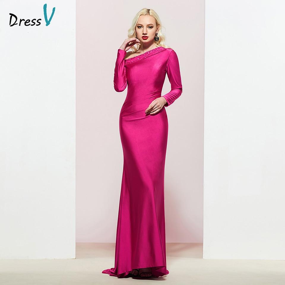 Dressv Fuchsia One Shoulder Appliques Evening Dress Zipper Up Elegant Sleeveless Wedding Party Formal Dress Evening Dresses
