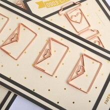 Лучшие 4 шт./лот розовое золото металл сердце Форма Бумага Зажимы Забавный Kawaii Закладки Офис Школьные принадлежности маркировки Зажимы
