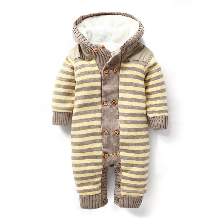 Baby Warm Thick Winter Knitted Sweater Rompers Newborn Boys Girls Jumpsuit Striped Clothes Christmas Hooded Outwear NIB7101903 wrap front striped palazzo jumpsuit