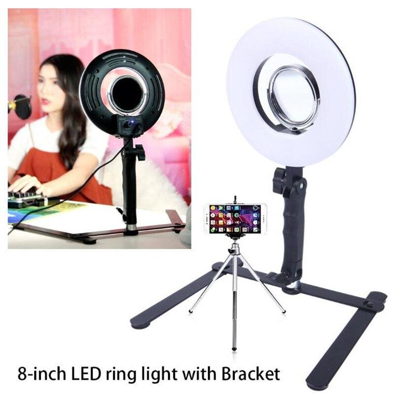 8'' 24W 5500K Tabletop Phone Video Dimmable LED Selfie Ring Light For Women Makeup Live Video Light Kit With Free Gift осветитель sunpak led 36 video light