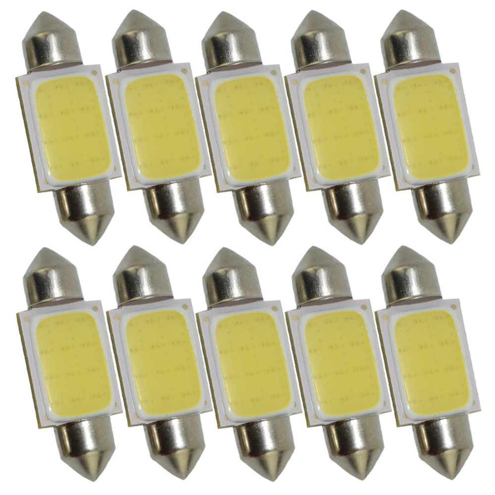 10pcs FESTOON COB 31mm 36mm 39mm <font><b>42mm</b></font> <font><b>LED</b></font> <font><b>Bulb</b></font> 12 Chips 12smd C5W DC 12v 24V White Color Car Dome Light Auto Interior Lamp 24V image