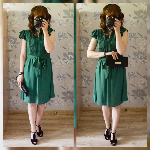 Green Button Front Layered Ruffle Pleated Dress With Belt  V Neck Vintage Ladies Dresses Women Short Summer Dress photo review