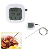 OOTDTY Food Thermometer Digital Touchscreen For Cooking BBQ Grill Oven 2 Stainless Steel Probes