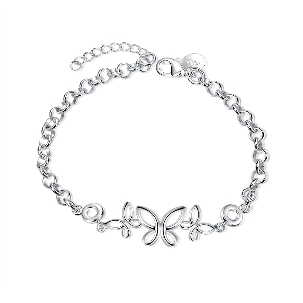 Lureme Fashion Jewelry 925 Silver 3 Butterflies Charm Chain Bracelet With  Extensions For Women Girls Teens