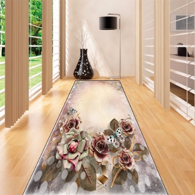 Else Brown Gray Green Retro Flowers Floral 3d Print Non Slip Microfiber Washable Long Runner Mat Floor Mat Rugs Hallway Carpets