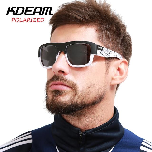 cee39ba5b6a KDEAM Square Sunglasses Men Sport Sun Glasses Polarized Mirror HD lens  Unisex Outdoor Eyewear 6 Colors UV400 With Case KD03X