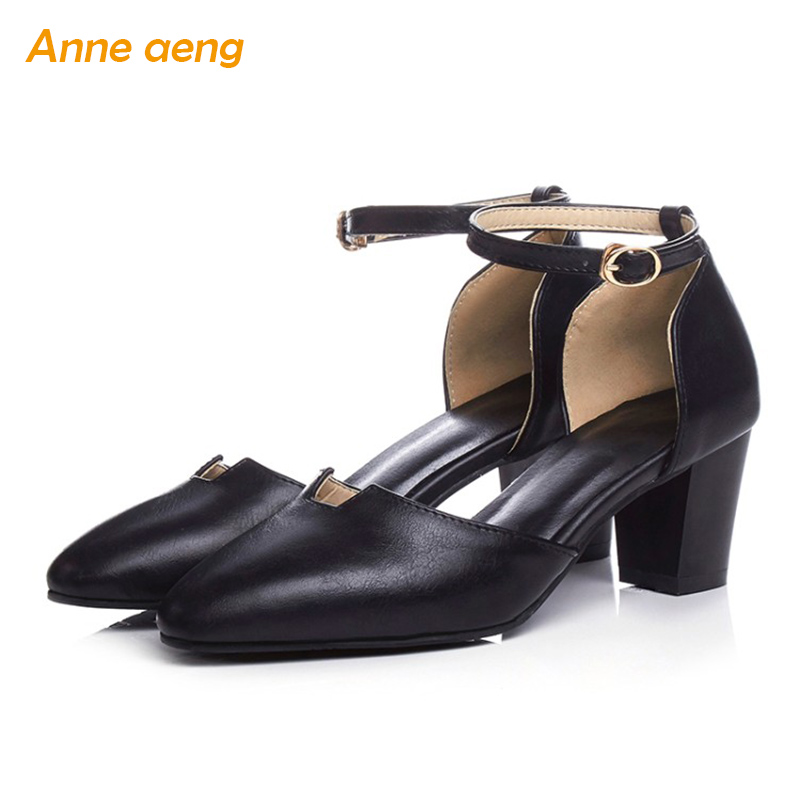 Spring women shoes 6cm high block heel pumps classic sexy office lady elegant wedding shoes with pointed toe black buckle strap new fashion brand spring shoes solid high heel women pumps elegant round toe high quality sexy wedding office lady autumn shoes