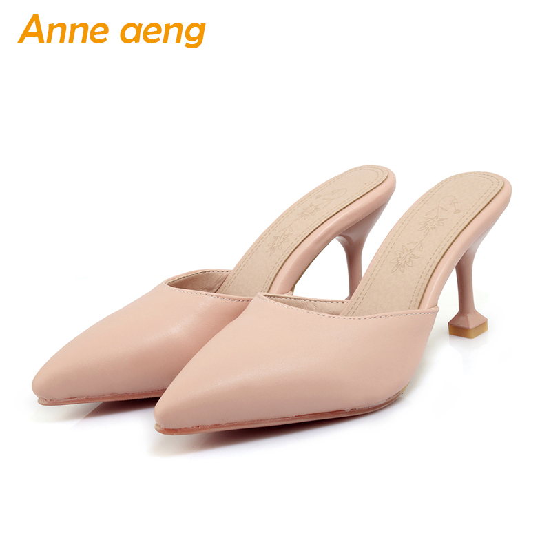2018 new spring summer women flippers thin high heel pointed toe comfortable sexy mules ladies slides outdoor women slippers new 2017 spring summer women shoes pointed toe high quality brand fashion womens flats ladies plus size 41 sweet flock t179