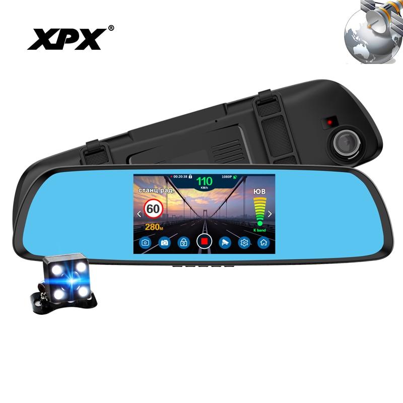 Dash cam Voiture caméra XPX P616 Voiture DVR 3 dans 1 GPS Radar DVR vue Arrière caméra FHD 1080 p DVR miroir Inverse caméra Dashcam