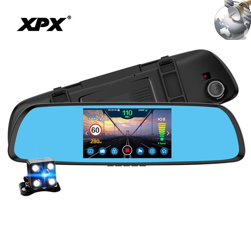 Dash cam cámara de coche XPX P616 coche DVR 3 en 1 Radar GPS DVR cámara de Vista trasera FHD 1080 p espejo DVR Cámara inversa Dashcam