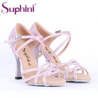 Free Shipping Light Purple Glitter Latin Dance Shoes Rhinestone Salsa Latin Dance Shoes Woman Suphini Latin Shoes