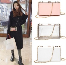 Female Luxury Brand acrylic Transparent Chain Box Women mini Handbag Shoulder Messenger Evening Bag clutch Purse Wallet Tote цена