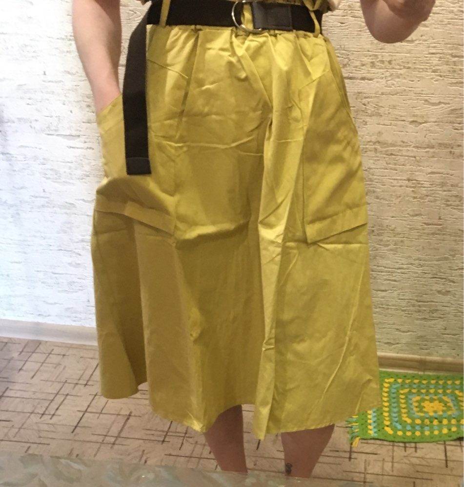 Pure Color Pockets Midi Skirts Casual Ladies Bottoms Trendy Female Skirts With Sashes Women photo review