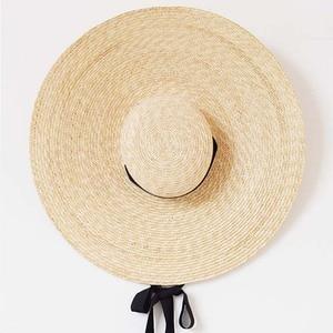 Image 5 - Elegant ธรรมชาติ 18 ซม.ฟางหมวกลูกไม้กว้าง Brim Kentucky DERBY หมวกผู้หญิงริบบิ้นสาวฤดูร้อน Sun หมวกชายหาด