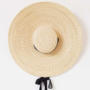 Image 5 - Elegant Natural 18cm Big Straw Hat with Lace Up Wide Brim Kentucky Derby Women Hat Ribbon Girl Summer Sun Protection Beach Hat