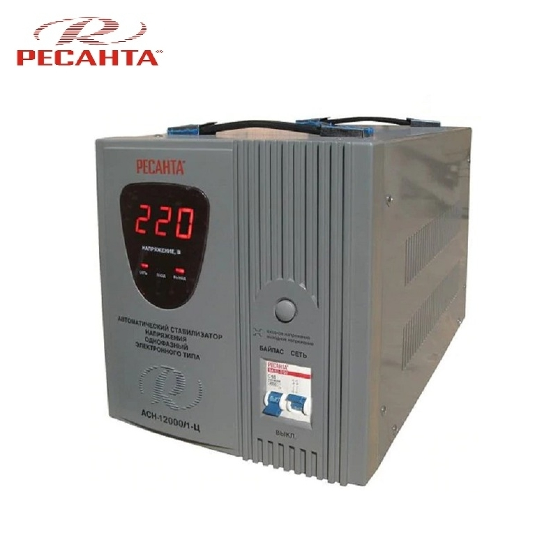 Single phase voltage stabilizer RESANTA ASN-12000/1-C Relay type Voltage regulator Monophase Mains stabilizer Surge protect voltage regulator resanta asn 12000 n1 c