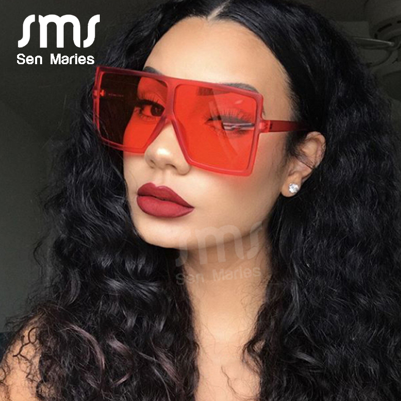 2019 Oversized Square Sunglasses Women New Luxury Brand Trendy Flat Top Red Blue Clear Lens Vintage Men Gradient Shades UV400