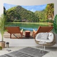 他ブラウンウッド Chaires ブルー湖グリーン山 3D プリント装飾 Hippi ボヘミアン壁風景タペストリー壁アート 装飾タペストリー    -