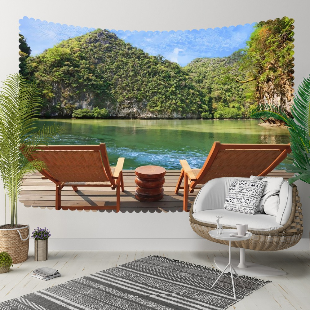 Else Brown Wood Chaires Blue Lake Green Mountains 3D Print Decorative Hippi Bohemian Wall Hanging Landscape Tapestry Wall Art