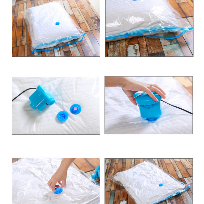 5pcs Home Vacuum Bag Storage Clothes Suction Transparent Border Foldable Compressed Organizer Saving Packet for Camping Travel