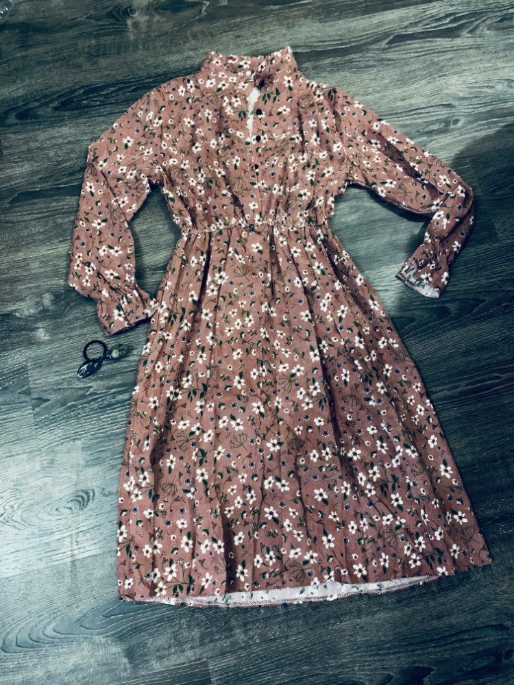 High Elastic Waist Corduroy Vintage Dress A Line Women Full Sleeve Flower Plaid Print Dresses Slim Feminino Crriflz photo review