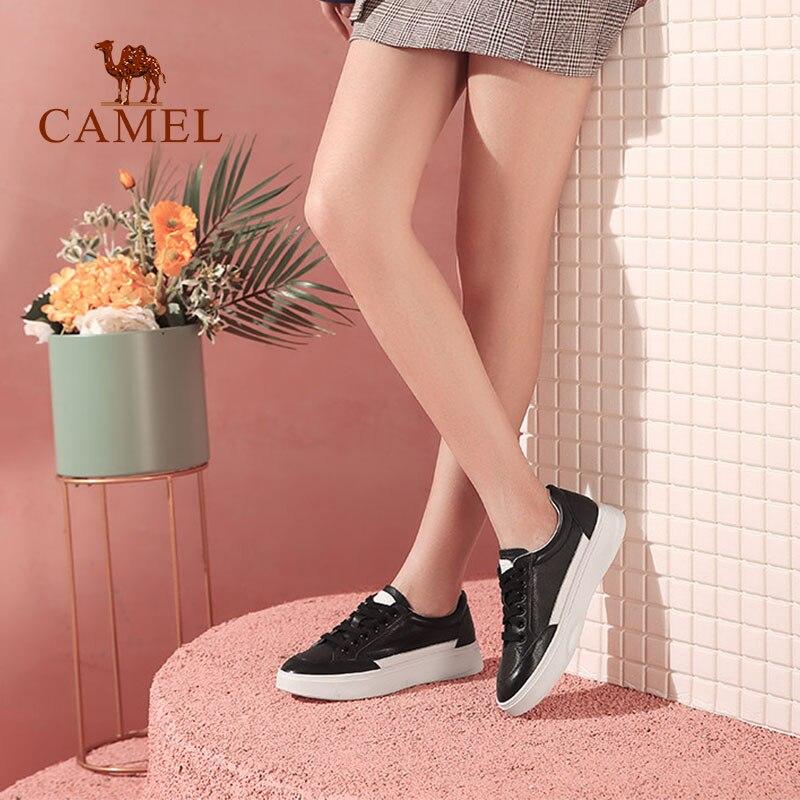 nero Cammello casual Srpring scarpe donne nuove bianco basse bianco pelle in Comfort retrò singolo vera pizzo studente signore Rq4B1Cwq