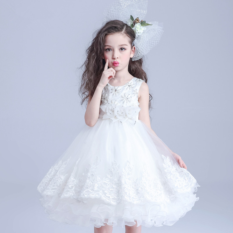 Brand High Quality Multi Layers Formal Party Girl Dress Children White Princess Flower Girl Vestidos 2017 Kids Clothes AKF164027 azel 4 12t children party wear short front long back formal dress white princess wedding flower girl vestidos girls clothes