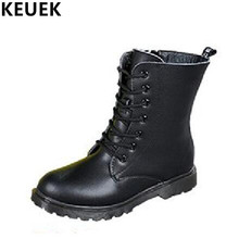 Genuine leather Children Winter shoes Mid-Calf Martin boots Autumn Boys Girls Riding Equestrian waterproof Snow 041