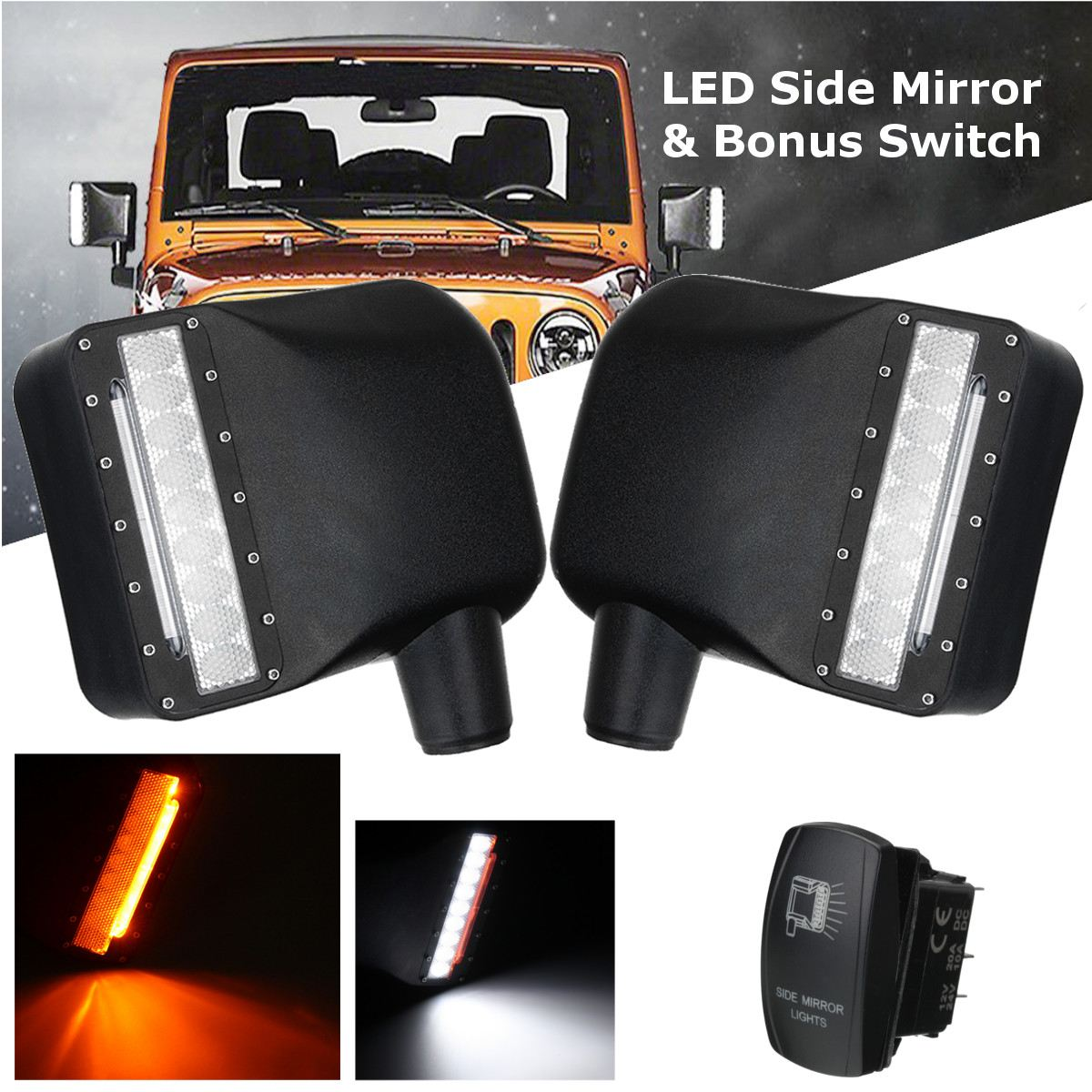Pair LED Side Mirror Housing Turn Signal Lights+Switch For Jeep For Wrangler JK 07-16 last designed high quality side view mirror cover with led turn signal light for jeep wrangler jk