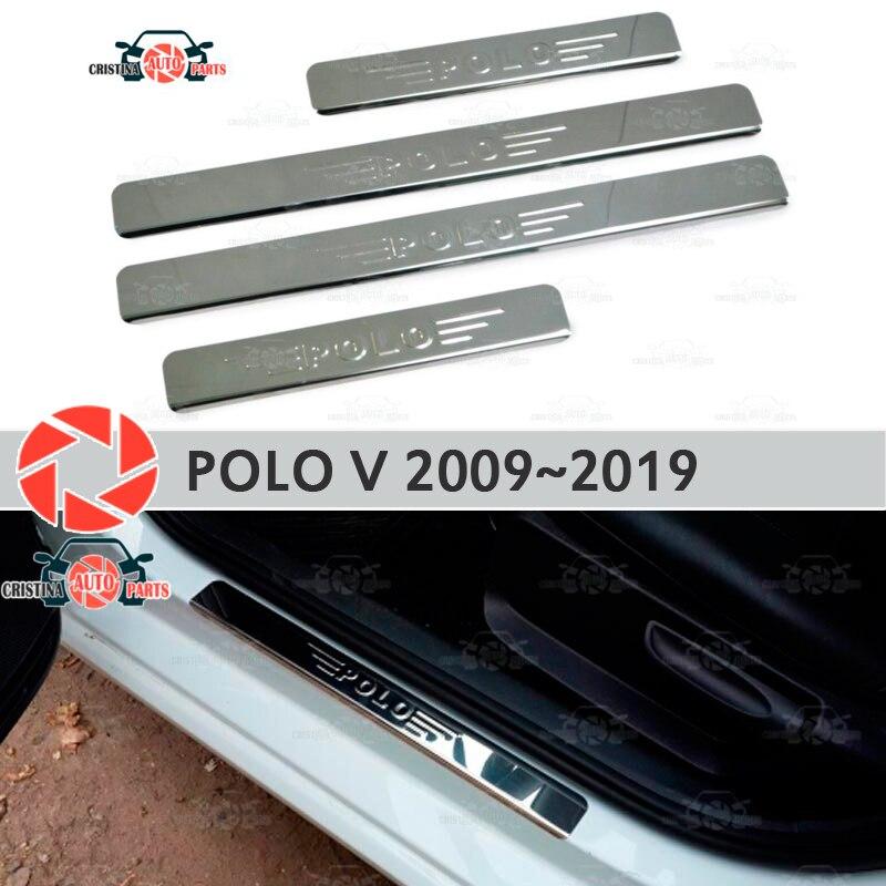 Soleiras de porta para Volkswagen Polo V 2009 ~ 2019 passo placa interna scuff guarnição acessórios de proteção car styling decoração selo lette