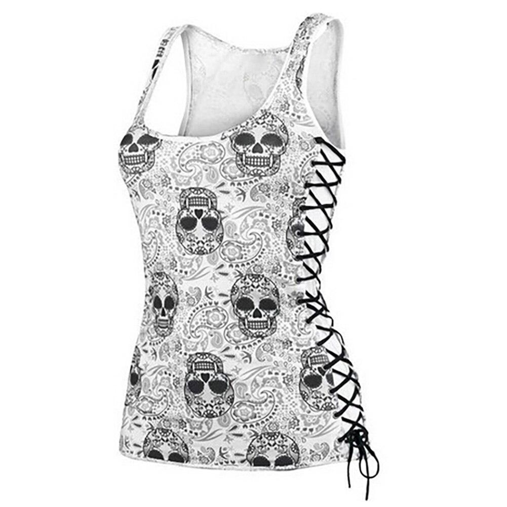 New Skull Head Design Tops Harajuku Sleeveless White T Shirts Fitness Women Vest Casual Camisole Tank Top