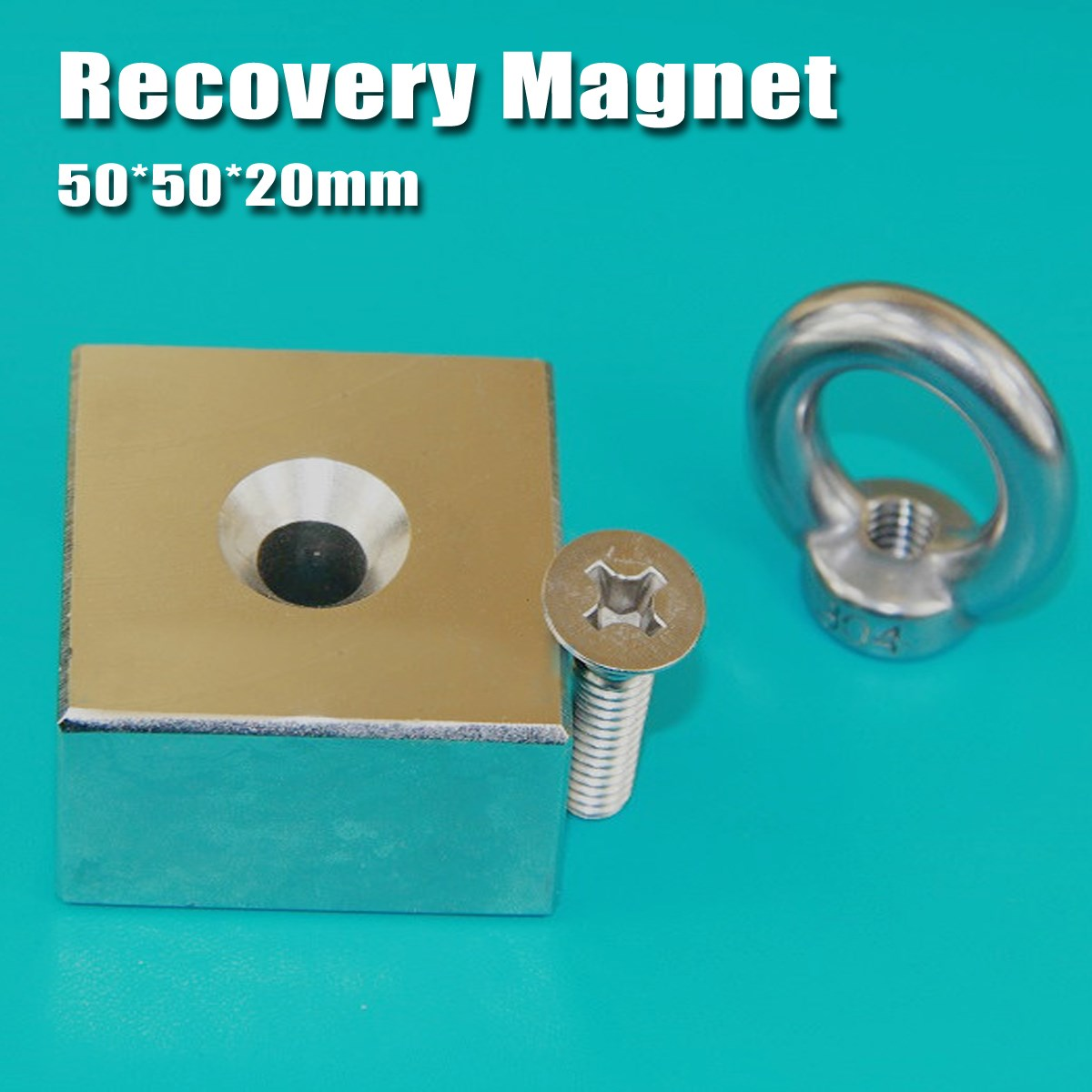1Pc 50x50x20mm Recovery Magnet Cuboid Square Block Powerful Neodymium Recovery Magnet Metal Detector with Handle Ringscrew network recovery