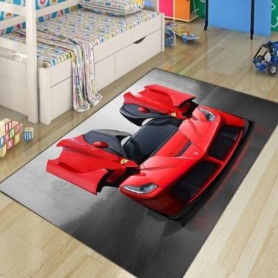 Else Red Sport Racing Car Boys 3d Pattern Print Non Slip Microfiber Children Kids Room Decorative Area Rug Kids Play Game Mat