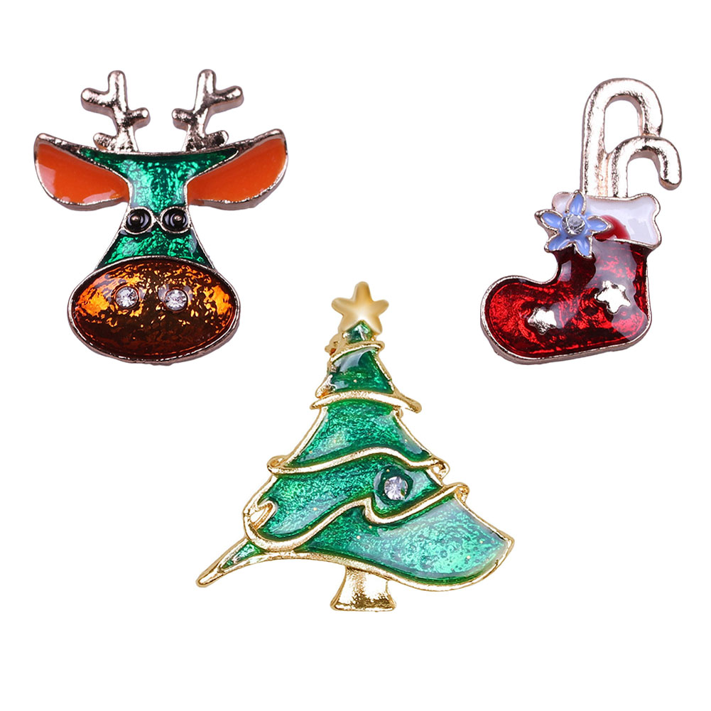 zheFanku 1 Set Winter Hot Christmas Brooch Pins Christmas Tree brooches Jingle Bell Deer Boots Heart Design Cute Brooch
