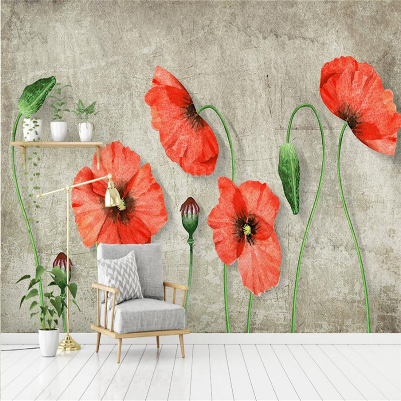 Custom Photo Wallpapers for Walls 3D Flowers Wallpapers Murals for Living Room Bedroom Wall Papers Nature Red Floral Wall Murals shinehome european roman pillar angel soft roll wallpaper for 3d rooms walls wallpapers for 3 d living room wall paper murals