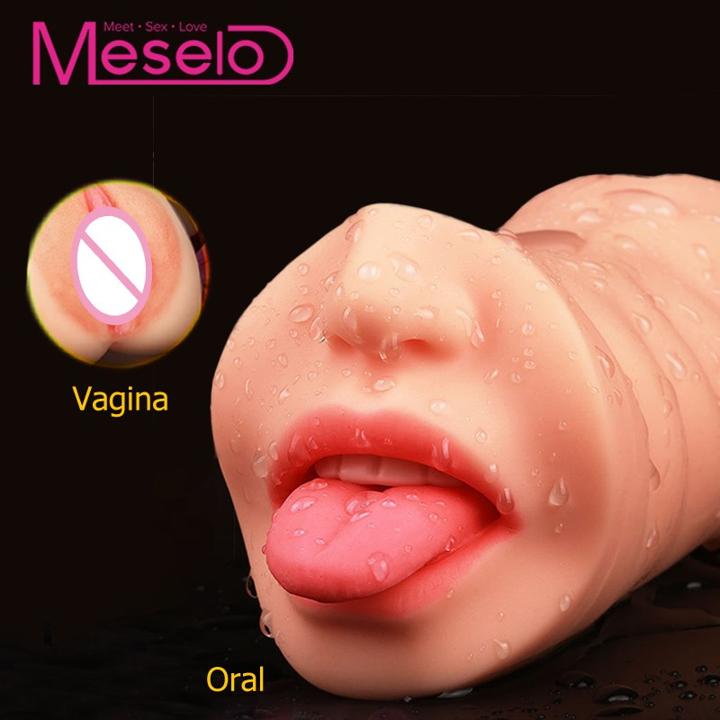 Meselo Oral Sex Masturbator For Man Real Maiden Vagina Pussy Blow Job 3D Deep Throat With Tongue, Masturbator Sex Toys For Men image